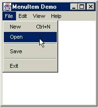 ตัวอย่างโปรแกรมแสดง MenuItem ในภาษา่java