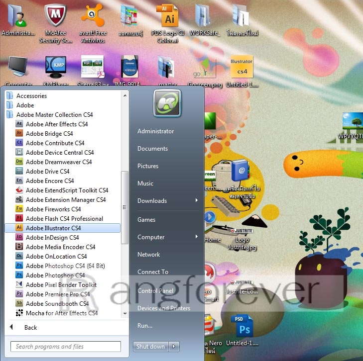 เปิดโปรแกรม Adobe illustrator CS4