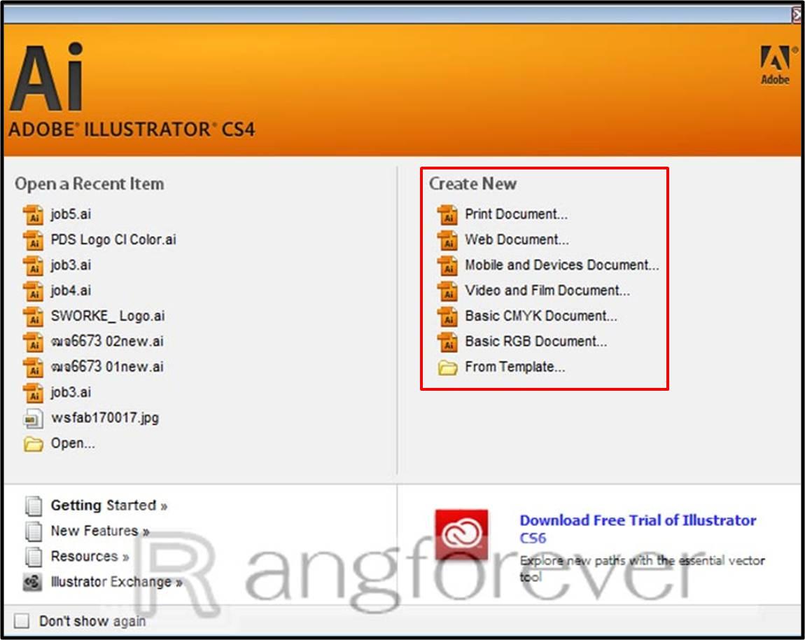 เลือกรูปแบบการสร้างไฟล์งาน Adobe illustrator CS4
